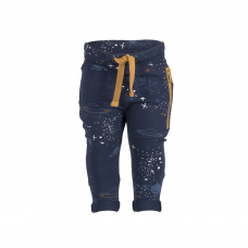 Organic Baggy Trousers with the zipper - colour MIDNIGHT BLUE