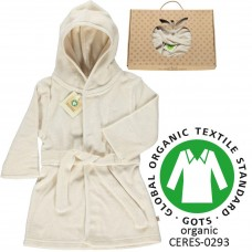 Organic Bathrobe Hooded - colour CREAM